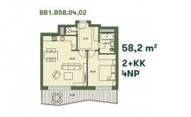 Byt, 2+kk, 4. NP, 57.6 m<sup>2</sup>