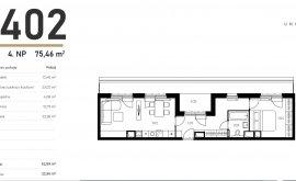 Apartment, 2+kk, 4<sup>th</sup> Floor, 52.4 m<sup>2</sup>