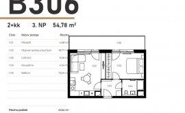 Apartment, 2+kk, 3<sup>th</sup> Floor, 41.7 m<sup>2</sup>