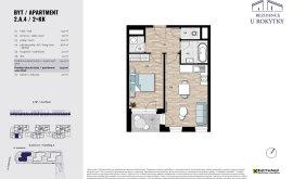 Apartment, 2+kk, 2<sup>nd</sup> Floor, 44.4 m<sup>2</sup>