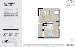 Apartment, 2+kk, 3<sup>th</sup> Floor, 52.2 m<sup>2</sup>