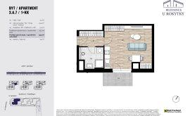 Apartment, 1+kk, 3<sup>th</sup> Floor, 33.2 m<sup>2</sup>