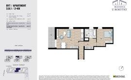 Apartment, 2+kk, 3<sup>th</sup> Floor, 58.4 m<sup>2</sup>