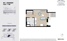 Apartment, 1+kk, 3<sup>th</sup> Floor, 34.9 m<sup>2</sup>