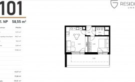 Apartment, 2+kk, 1<sup>st</sup> Floor, 40.6 m<sup>2</sup>