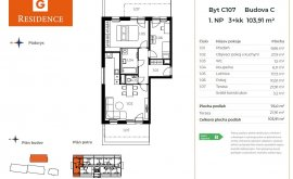Apartment, 3+kk, 1<sup>st</sup> Floor, 76.0 m<sup>2</sup>